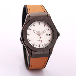 Wholesale Dial Clocks - high quality brown casual leather mens watches top brand luxury black stainless steel big dial automatic Male clock boys aaa watch