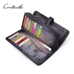 Wholesale Top Grade Handbags - Men Wallet Top Grade Moneybag Genuine Cow Leather Men Purse Vintage Coin Packet Long Cards Holder Handbag