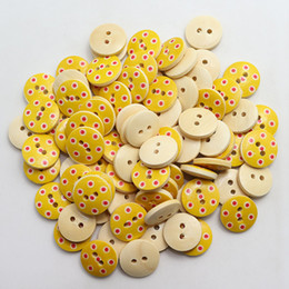 trous de bois Promotion Wholesale Acces Wood Sewing Button Scrapbooking pour vêtements de bricolage au Random 2 trous Dot Pattern 15mm, 100 PCs 2017 nouveau