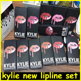 Wholesale Pencil Liquid - new Kylie Lipliner pencil Velvetine Liquid Matte Lipstick Lip Gloss Kylie lip kit line Make Up 28 colors DHL free shipping