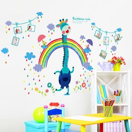 Wholesale Removable Rainbow - Rainbow Rain Cartoon Deer Wall Sticker Children's Room Murals DIY Photo Wall Decal Art Home Decor