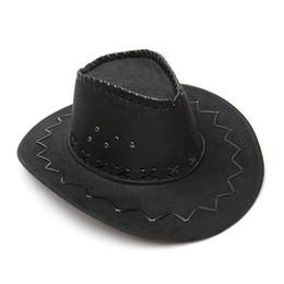 Wholesale Ladies Dress Hats Wholesale - Wholesale-New Fashion Cowboy Hat Suede Look Wild West Fancy Dress Men Ladies Unisex Hats Black