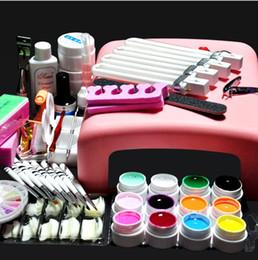 Wholesale Gel Nail Color Sets - Wholesale-White Lamp & 12 Color UV Gel Nail New Pro 36W UV GEL Nail Art Tools Sets Kits