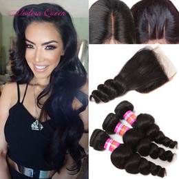 Wholesale Human Hair Extensions 4pieces - Mongolian Loose Wave Human Hair Weaves 3 Bundles With Lace Closure Mongolian Loose Curl Human Hair Extensions 4Pieces Top Loose Wave Closure