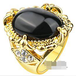 Wholesale Half Cabochon - trendy gold plated Resin big oval Surface Cabochon Half egg shape Gem ring Imitation black agate obsidian ring Onyx Royal rings Women j309