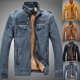 Wholesale Denim Jacket Men Thick Fur - Denim Color New Winter Leather Jacket Mens Coats Fur inside Men Motorcycle Jacket High Quality Thick Warm PU Leather Outwear
