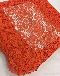 Wholesale Organza Lace Fabric Handcut - Orange Handcut organza voile lace wedding Swiss African lace fabric with mesh cord guipure 5 yards 7colors available