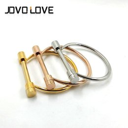 Wholesale Stainless Steel Shackles For Bracelets - Stainless Steel Bangles Fashion Shackle Screw Bracelet Cuff 18K Rose Gold Gift Bracelets For Women Love Bracelet Wholesale Free Shipping