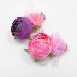 Wholesale Artificial Flower Girl Ball - Artificial Rose Flower Hair Clip Pink Purple Rosette Toddler Flower Girl Hair Barrette Gauze Mesh Ball Fairy Wedding Hairpin Floral Grips