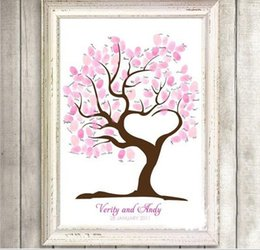 Wholesale Guest Book Tree - Wholesale- Fingerprint Tree Wedding Guest Book Fingerprint Canvas Painting Wedding Decoration Party 60x75cm 2016 Wedding Gifts Casamento