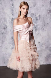 Wholesale Reem Acra Blue - Sexy Blush Homecoming Dresses REEM ACRA 2017 Off-Shoulder Tiered Skirts Sexy Mini Party Prom Dress A-Line Arabic Party Cocktail Gowns