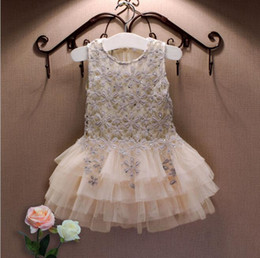 Wholesale Chinese Baby Girl Costume - 2016 Summer New Lace Vest Girl Dress Baby Girl Princess Dress Chlidren Clothes Kids Party Costume Ball Gown Beige Birthday Dress