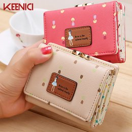 Wholesale Small Leather Pocket Change Holder - Wholesale- 2016 Lady Short Coin pouch women's purse New Kawaii Girl Small Change wallets Coin bag Embossed 3 Folds Pu leather coin purses