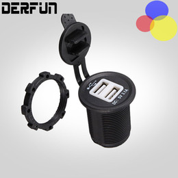 Wholesale Car Charger 12v Output - 12V 24V Motorcycle Waterproof Car Adaptor Charger Dual USB 3.1A Port Cigarette Lighter Socket Splitter Power Outlet For Phone