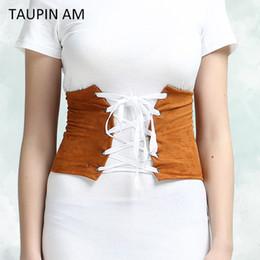 Wholesale Lace Up Waist Cinchers - Wholesale- Faux Suede Lace Up Corset Belt Bandage Womens Waist Belt Wide New Shape-Making Midriff-Cinchers 2017 Vintage Wide Waist Belts