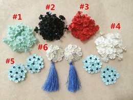Wholesale Sewing Clothing Accessories Rhinestone - 10pcs lot 3.5-4cm beaded rhinestone handmade 3d sew on flower with tassel patch for clothing hat shoes bag diy accessories appliqued420