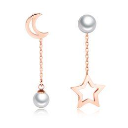 Brincos de estrela pendurados on-line-Asymmetric Star Moon Ear Cadeias Dangle Brincos Longo Brinco de Pérola Para As Mulheres de Ouro Rosa