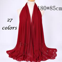 Wholesale Flower Hijabs - Wholesale- 180*85cm women bubble chiffon plain scarf laser cut flower pearl shawls spring solid wrap muslim hijabs scarf scarves 10pcs lot