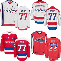 Wholesale Mens Fashion Usa - 2016 Newest 2015 USA Washington Capitals 77 TJ Oshie white Red Jerseys Ice Hockey Jersey Mens Fashion All Stitched 100% Polyester