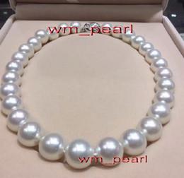 """Fine Pearls Jewelry 18 """"13-14mm REAL Натуральное южно-морское круглое белое жемчужное ожерелье 14K от Поставщики сад бесплатно"""