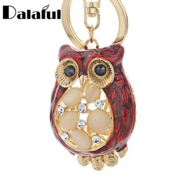 Wholesale Opal Pendant Men - beijia Cute Opal Owl Key Chain Rings Metal Crystal Animal For Car Keyrings Keychains Purse Pendant For Girls Womens K343