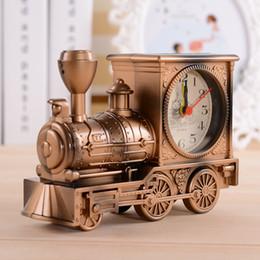 Wholesale Modern Metal Clock - Vintage Retro Train Desk Clock Home Decor 3 Colors Creative fashion Quartz Clocks Best Promotion Gift with Boxes