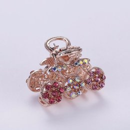 Wholesale Hair Claws Gripper - Wholesale-Fashion Tiara Hair Accessory Gripper Hairpin Alloy Rhinestone Antique Flower Hair Claws For Women Crab Clip Hair 2016