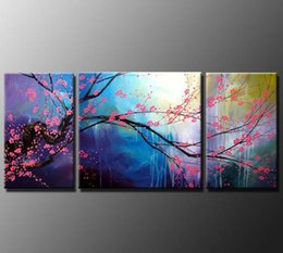 Wholesale Hand Drawn Pictures - 1set(3pcs)(Plum blossoming) abstract hand drawn European style painting, No Frame