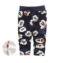 Wholesale Dog Girl Clothing - baby boy pants winter cartoon warm children trousers 2016 fashion baby girls leggings pants cute mickey dog duck kids clothes christmas