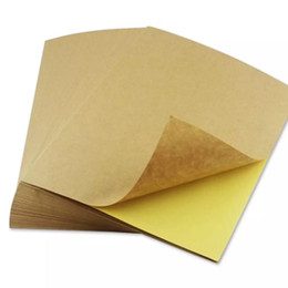Wholesale Adhesive Laser Paper - 50 sheets A4 Brown kraft paper stickers Self Adhesive Inkjet Laser A4 printing labels