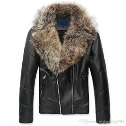 Wholesale Mens Pu Jackets - winter jacket man leather jacket large fur collar luxury zipper PU men leather jacket mens leather jackets and coats