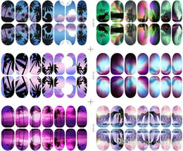 Wholesale Nail Sticker Glow - Nail foils glow in the dark landscape nail wraps self adhesive decals nail stickers nail tips 6 patterns 30 pcs lot