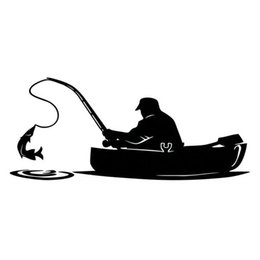 Wholesale White Decals - Fashion Fisherman Fishing On Board Car Sticker Covering The Body Of Interesting Vinyl Decals Black White