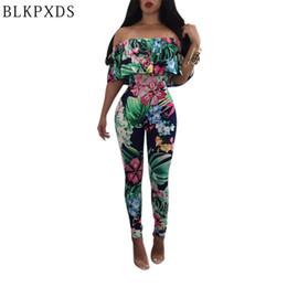 Wholesale Wholesale Clubwear For Women - Wholesale- Digital Flower Print Ruffles New Summer Style Slash neck Women Jumpsuit Bodysuit Sexy Jumpsuits for women Clubwear Rompers