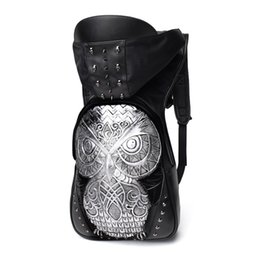 Wholesale Patchwork Owl Backpack - New Fashion Personality 3D PU owl leather Patchwork backpack rivets owl backpack with Hood cap apparel bag cross bags hip hop man 17925003