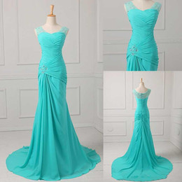 Wholesale Maternity Plus Size Discount - Best Selling Mermaid V-neck Floor Length Turquoise Chiffon Cap Sleeve Prom Dresses Beaded Pleats Discount Prom Gowns Formal Evening