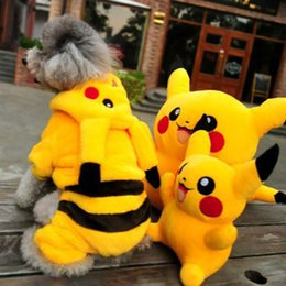 Wholesale Pet Jumpsuits - new go Funny cartoon Halloween dog Pikachu costume cloth pet cat dog coat jacket hoodie jumpsuit small dog Chihuahua clothes