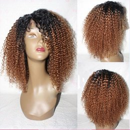 Wholesale Brazilian Yaki Hair 1b - Kinky Curly Ombre Lace Wig 1B #30 Full Lace Wigs Human Hair 8A Unprocessed Brazilian Lace Front Wigs Baby Hair For Black Women