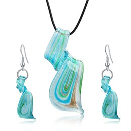 Wholesale Murano Glass Pendants Blue - Fashion Jewelry Sets Mix Twisted Lampwork Glass Murano Inspiration Pendants Necklace and Earrings Jewelry Sets for Women Party