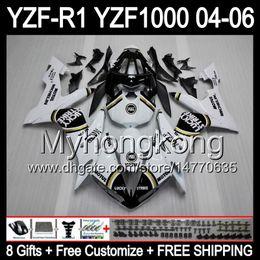 Wholesale Black Strike - 8Gifts+ Body Lucky Strike For YAMAHA YZF-R1 04-06 YZF R1 MY43 YZF1000 White black YZFR1 04 05 06 YZF 1000 YZF R 1 2004 2005 2006 Fairing Kit