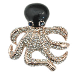 Wholesale Octopus Brooches - Korea New Listing Fashion Delicate rhinestone octopus brooch For Jewelry Wholesale Pins brooch 45mm