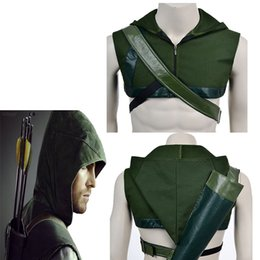 Wholesale Arrow Quivers - Hot Movie Green Arrow Oliver Queen Cosplay Hat Cos Costume Accessories Quiver Free Shipping For Halloween Party