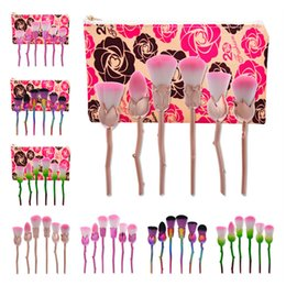 Wholesale Rose Flower Metal - HOT Rose Flower Makeup Brushes 6 PCS Professional Beauty Brushes Set Cosmetic Tools Powder Brush With Cosmetic Bag Free Shipping