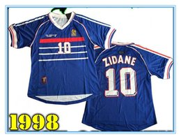 Wholesale Zidane France - Wholesale 1998 FRANCE retro soccer jerseys home top thai 3AAA customzied name number zidane Henry soccer uniforms football shirts