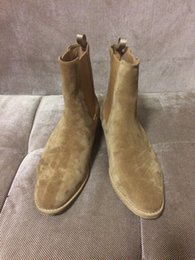 Wholesale Suede Boots Knee High Sale - Best Real Picture luxury famous exclusive customized sale Man Paris suede leather Slip-on Chelsea Mid-Calf chelsea boots