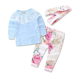 Wholesale Girls Flower Tshirts - 2016 ins Girls Baby Childrens Clothing Sets Spring Autumn Long Sleeve Flowers tshirts Pants 3 Set Kids Clothes Boutique Clothing