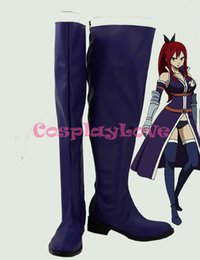 Wholesale Blue Costume Tail - Wholesale-Custom Made Fairy Tail Sexy Bikini Titania Erza Cosplay Boots Shoes For Christmas Halloween Festival Birthday CosplayLove