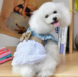 Wholesale Cat Blue Costume - Summer Pet Puppy Small Dog Cat Pet Denim Skirt Dress Apparel Costume Clothes
