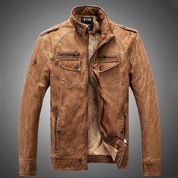 Wholesale Motocycle Jacket Leather Men - 2016 US Style Motocycle Biker leather Jacket Winter fleece warm jackets Punk boy pocket Faux Leather Outerwear