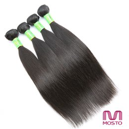 Wholesale Indian Hair Promotion - Big Promotion! Brazilian Hair 4pcs Full Head Silky Straight Human Hair Weave Natural 1B Peruvian Hair Extensions MOSTO Hair